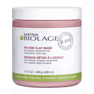 MATRIX Biolage R.A.W. Re-Hab Clay Mask for stressed, sensitized hair with honeycomb, kaolin clay 14.4 oz / 400 g