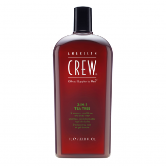 AMERICAN CREW 3-in-1 Tea Tree Shampoo, Conditioner, and Body Wash 33.8 fl oz / 1 litre
